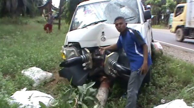 Tabrakan Dengan Mobil Pick Up, Pengendara Motor Luka Parah