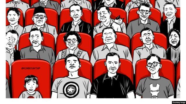 """Cerita Viral Jokowi dan Prabowo Bersatu Nonton """"Endgame"""" di Ilustrasi Komik Faktap"""