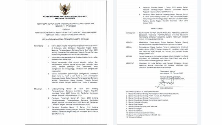 BNPB Perpanjang Masa Darurat Bencana akibat Virus Corona hingga 29 Mei