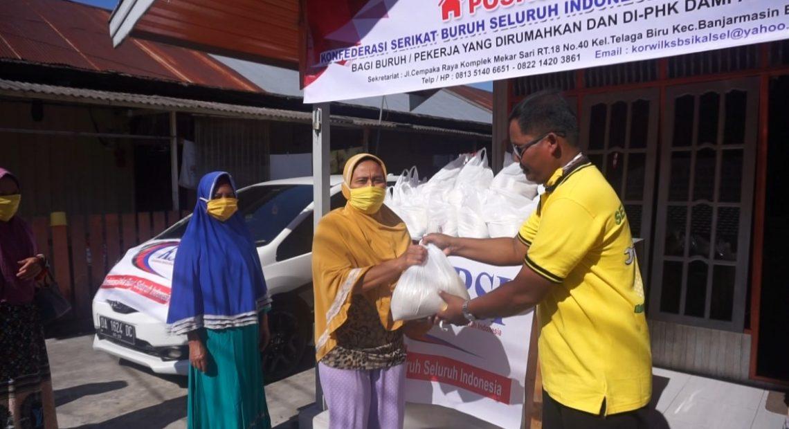 Konfederasi Serikat Buruh Indonesia Kalsel, bagikan sembako