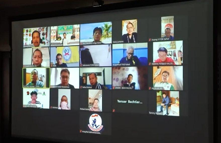 uji coba rapat virtual KONI Kalsel