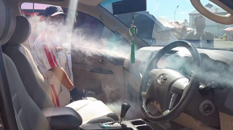 PT Wira Megah Profitamas Bekerjasama Dengan Oraski Kalsel menggelar pengasapan menggunakan cairan disinfektan