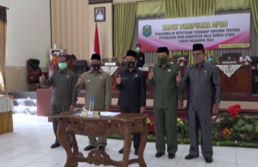 Rapat Paripurna DPRD Raperda APBD perubahan Kabupaten HSU tahun 2020.
