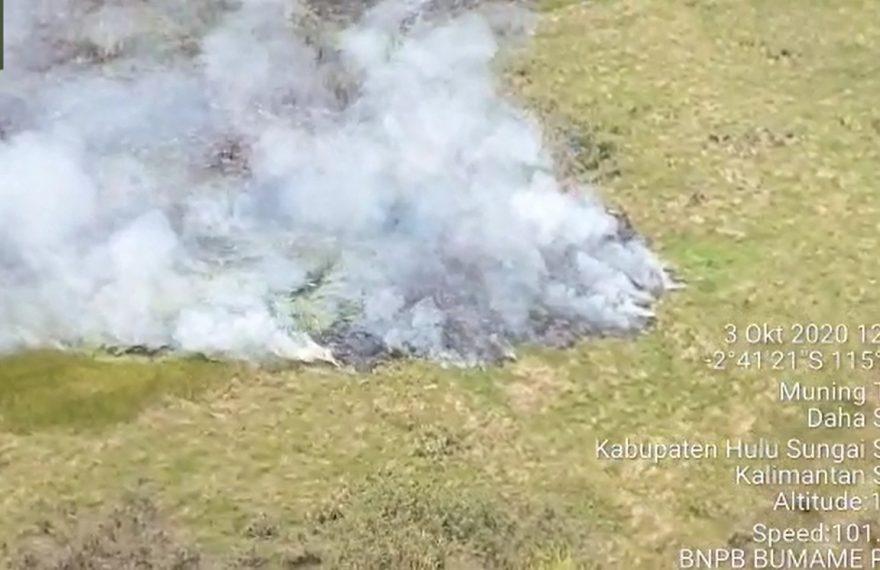 kebakaran hutan dan lahan di daerah HSS