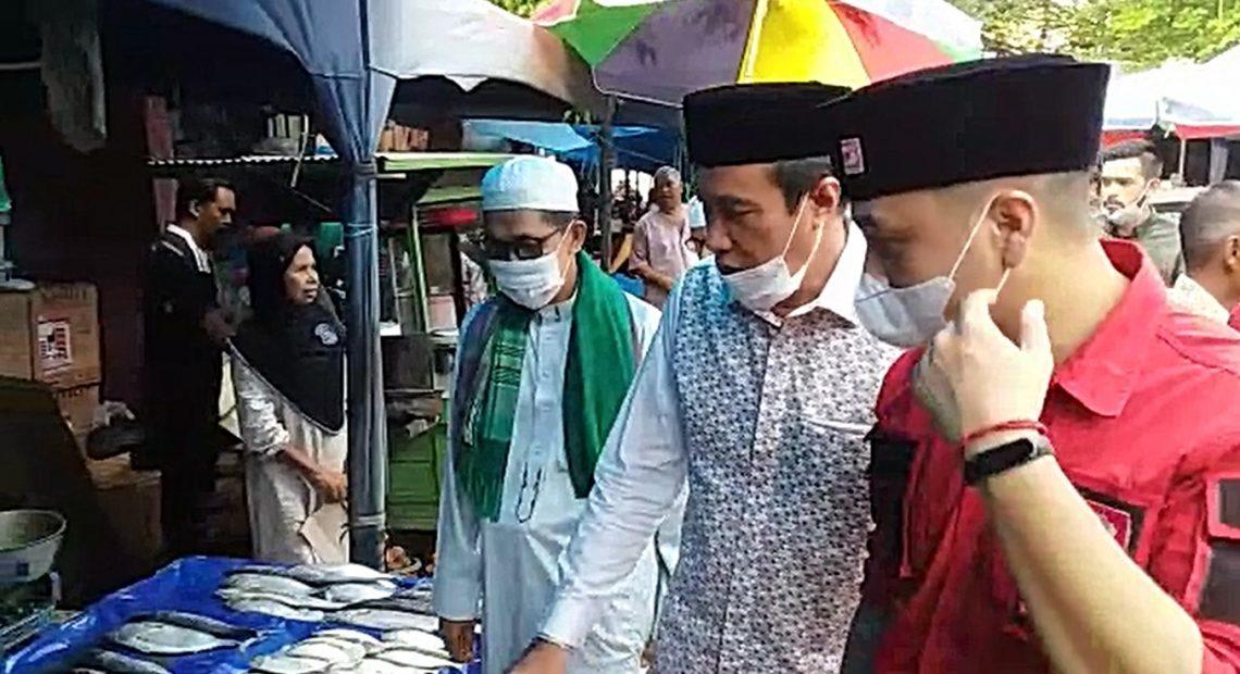 H. Rusli dan Giring blusukan ke Pasar Martapura