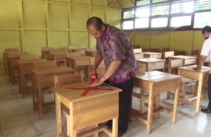 persiapan sekolah tatap muka SMPN 12 Banjarmasin