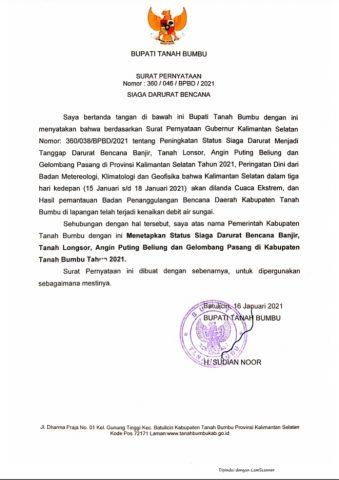 Bupati Tanbu Terbitkan Surat Penetapan Status Siaga Darurat Bencana