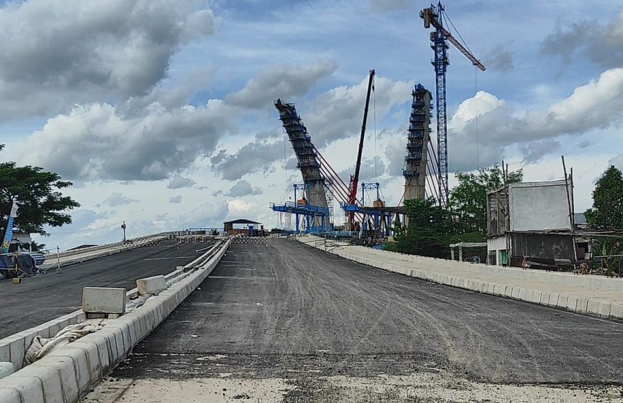 pengerjaan Jembatan Sungai Alalak terlambat, akibat terdampak Covid-19 (foto:duta tv)