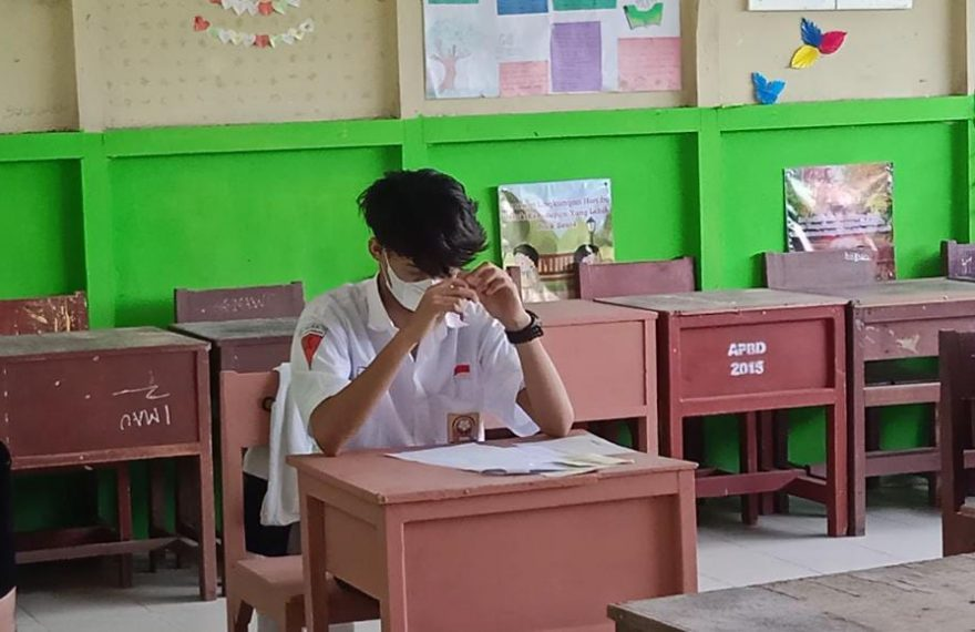 US diikuti 43 siswa yang tersebar pada 4 kelas agar menerapkan protokol kesehatan (foto:duta tv)