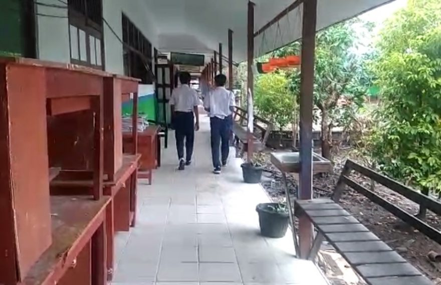SMP Negeri 22 Banjarmasin menjadi salah satu sekolah yang menggelar PTM (foto:duta tv)