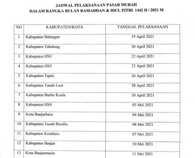 Jadwal Penyelenggaraan Pasar Murah (Foto: Istimewa)