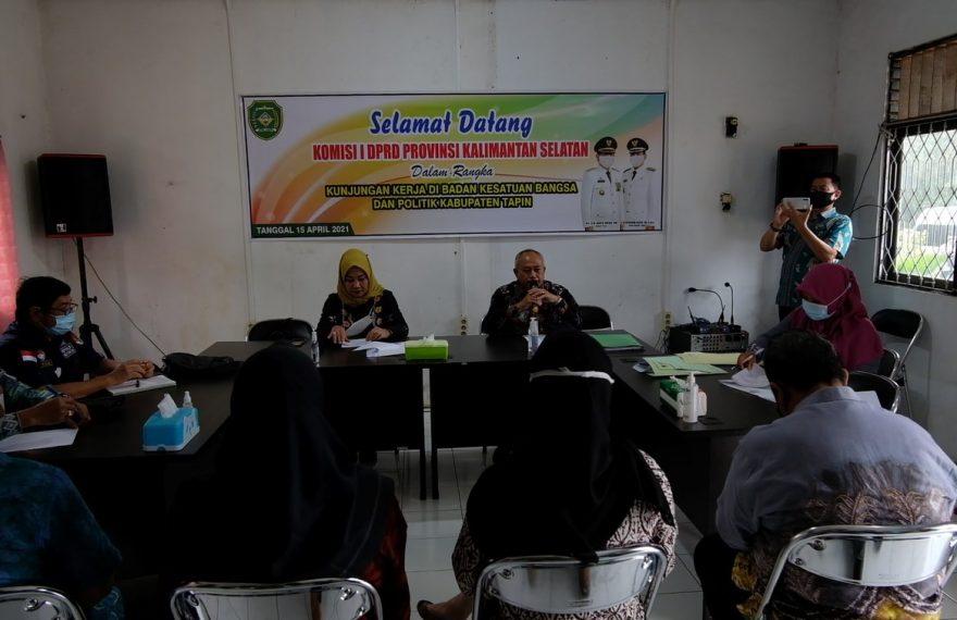 kunjungan komisi I DPRD Kalsel, dengan Bakesbangpol Kabupaten Tapin (foto:istimewa)