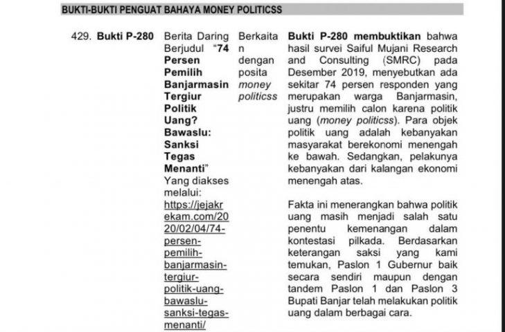 Denny Indrayana Terbukti Gunakan Survei Palsu SMRC '74% Warga Banjarmasin Politik Uang' Jadi Alat Bukti MK